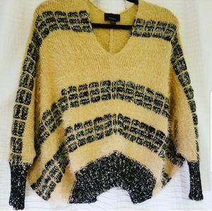 Lumiere Cropped Oversized V-neck Sweater